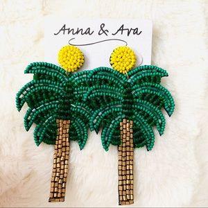 Anna & Ava Beaded Palm Tree Statement Earrings.